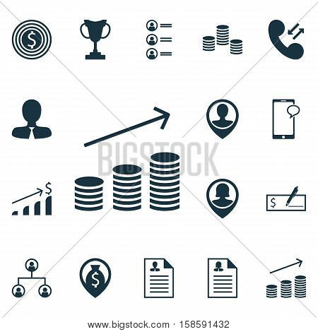 Set Of Hr Icons On Pin Employee, Employee Location And Coins Growth Topics. Editable Vector Illustration. Includes Growth, Profile, Structure And More Vector Icons.