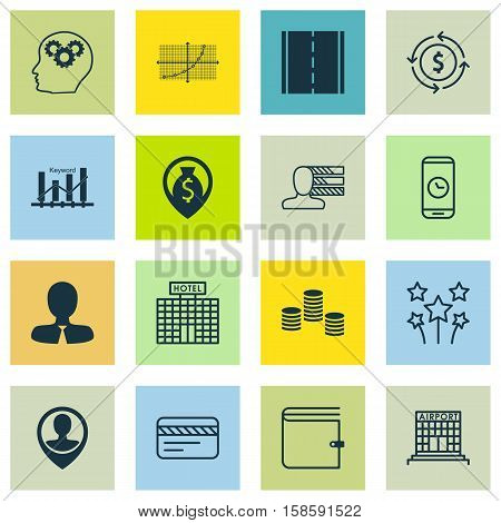 Set Of 16 Universal Editable Icons. Can Be Used For Web, Mobile And App Design. Includes Icons Such As Photo Camera, Bank Card, Hotel Construction And More.