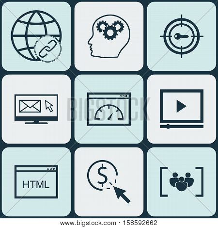 Set Of Marketing Icons On Brain Process, Connectivity And Video Player Topics. Editable Vector Illustration. Includes Focus, Web, Bulding And More Vector Icons.