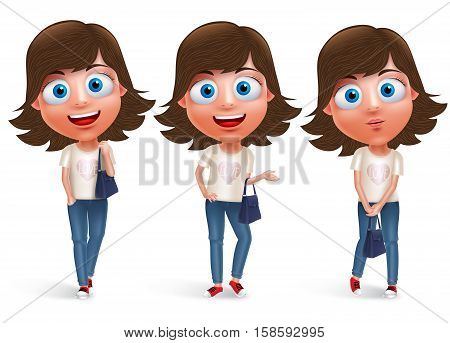 Teen girl vector character holding hand bag wearing jeans and fashionable dress with different model pose and smile in white background. Vector character set.