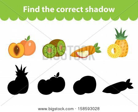 Children s educational game, find correct shadow silhouette. Fruit set the game to find the right shade. Vector illustration
