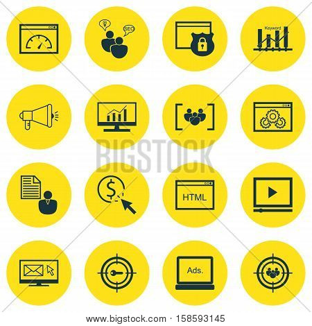 Set Of SEO Icons On Website Performance, Security And Keyword Marketing Topics. Editable Vector Illustration. Includes Businessman, Group, Speed And More Vector Icons.