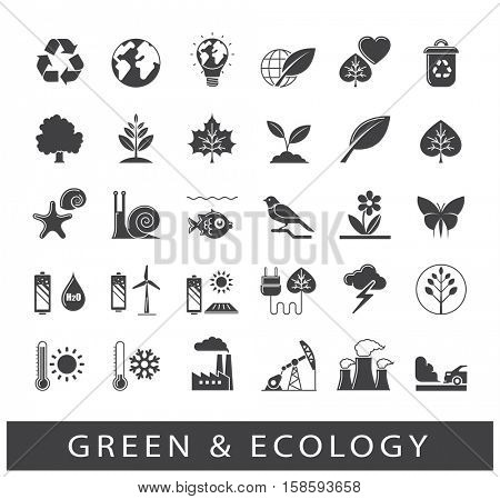 Set of line ecology icons. Bio alternative for pollution, prevention of global warming. Green power, nature, preservation, care, social consciousness.