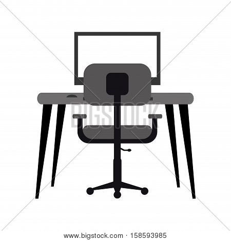 workplace modern pc armchair desk monochromatic vector illustration eps 10