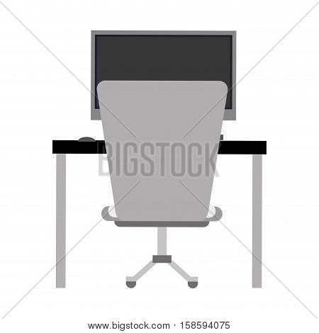 workplace office space equipment design monochromatic vector illustration eps 10