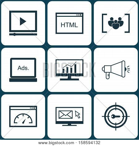 Set Of SEO Icons On Video Player, Questionnaire And Coding Topics. Editable Vector Illustration. Includes Video, Email, Keyword And More Vector Icons.