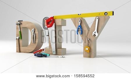 DYI concept inscription letters and tools on white background, 3d illustration
