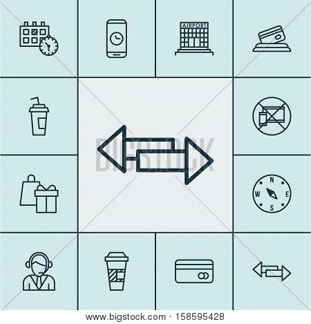 Set Of Travel Icons On Forbidden Mobile, Plastic Card And Locate Topics. Editable Vector Illustration. Includes Phone, Operator, Debit And More Vector Icons.