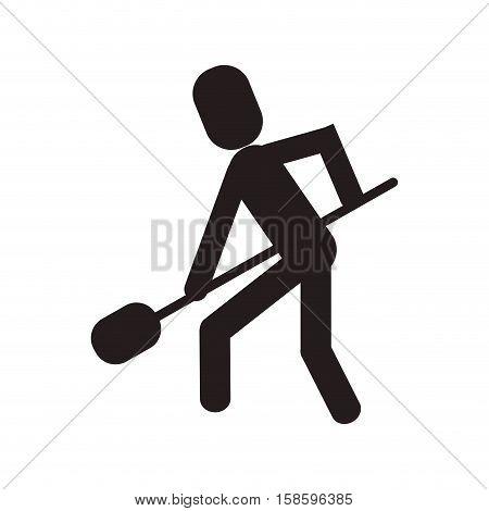 man shovel digging work construction vector illustration eps 10