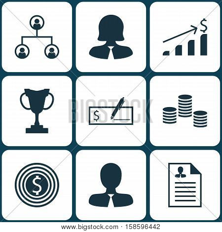 Set Of Human Resources Icons On Tournament, Manager And Successful Investment Topics. Editable Vector Illustration. Includes Growth, Resume, Trophy And More Vector Icons.