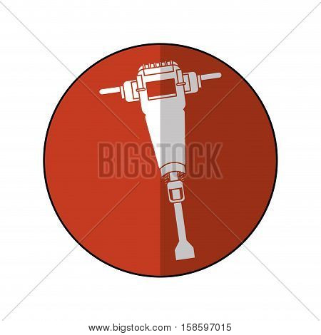 jackhammer construction tool design brown circle shadow vector illustration eps 10