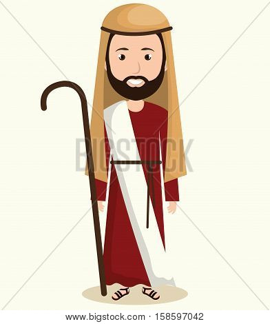 happy merry christmas manger character vector illustration design