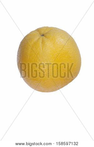 Valencia orange (Citrus x sinensis Valencia). Hybrid between Citrus maxima (Pomelo) and Citrus reticulata (Mandarin). Image of single fruit isolated on white background