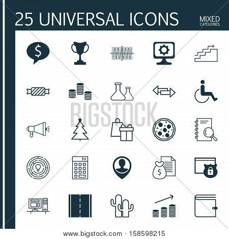 Set Of 25 Universal Editable Icons. Can Be Used For Web, Mobile And App Design. Includes Icons Such As Cacti, Media Campaign, Coins Growth And More.