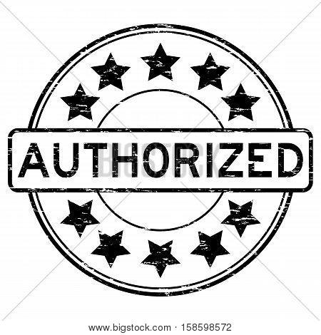 Grunge black authorized round shape rubber stamp