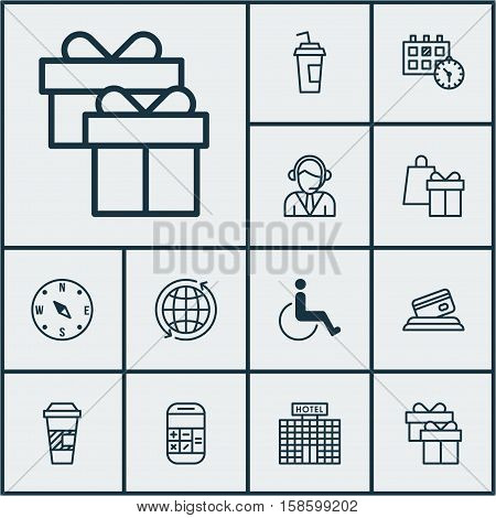 Set Of Travel Icons On Locate, Appointment And Hotel Construction Topics. Editable Vector Illustration. Includes Operator, Paralyzed, Payment And More Vector Icons.