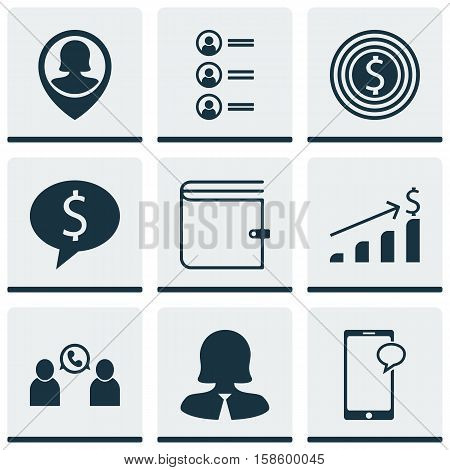 Set Of Human Resources Icons On Business Goal, Phone Conference And Wallet Topics. Editable Vector Illustration. Includes Call, Increase, List And More Vector Icons.