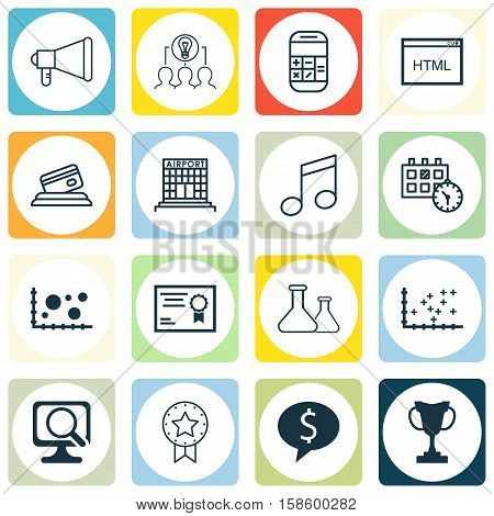 Set Of 16 Universal Editable Icons. Can Be Used For Web, Mobile And App Design. Includes Icons Such As Plot Diagram, Crotchets, Chemical And More.
