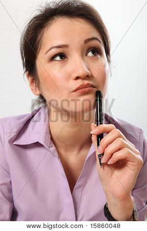 Woman thinking over a problem