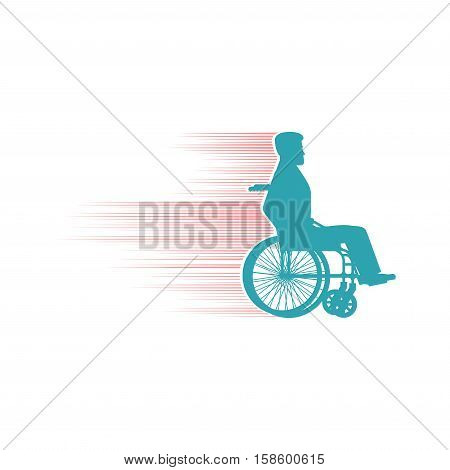 Disabled Person In Chair Wheelchair Travels Fast. Speed ​​wheel