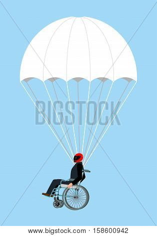 Disabled Skydiver Isolated. Wheelchair On Parachute On Sky