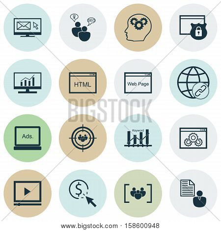 Set Of SEO Icons On Keyword Optimisation, PPC And Brain Process Topics. Editable Vector Illustration. Includes Brief, Link, Performance And More Vector Icons.