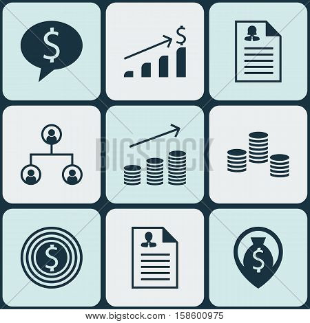 Set Of Management Icons On Coins Growth, Tree Structure And Business Deal Topics. Editable Vector Illustration. Includes Dollar, Goal, Organisation And More Vector Icons.