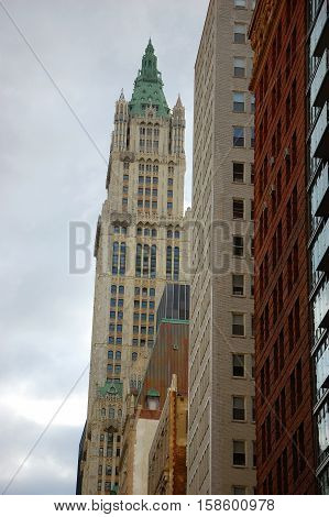 Woolworth Building is a historic Gothic style skyscraper built in 1913 in lower Manhattan in New York City, New York, USA.
