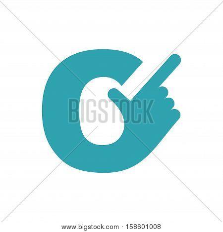 C Letter Hand. Forefinger Lettering Isolated On White Background