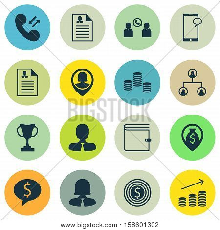 Set Of Human Resources Icons On Manager, Business Goal And Messaging Topics. Editable Vector Illustration. Includes Cup, Structure, Wallet And More Vector Icons.