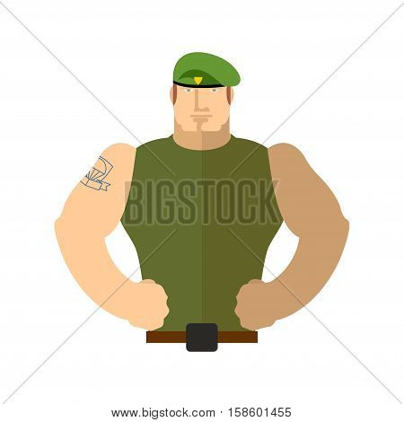 Soldier Portrait. Military In Green Beret. Special Forces