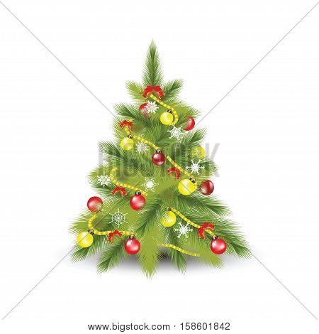 Christmas tree with fir snowflakes and colorful christmas balls isolated on whiteflat design vector illustration.