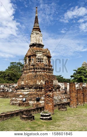 Detail of a chedi or stupa at Wat Mahathat Temple of the Great Relic a Buddhist temple in Ayutthaya central Thailand