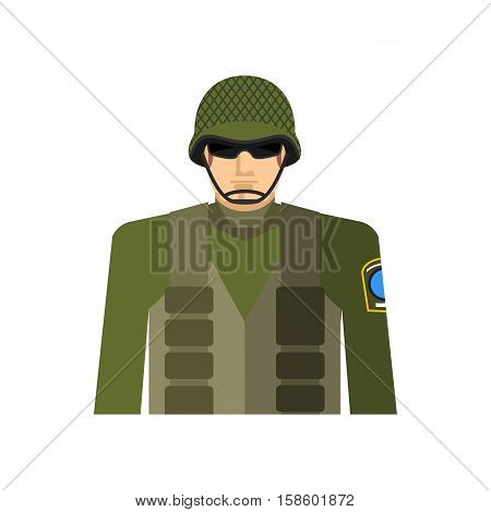 Soldier Portrait. Military In Protective Helmet And Flak Jacket. Special Forces