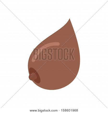Boobs African American Isolated. Bosom On White Background. Breasts Emblem. Female Breast