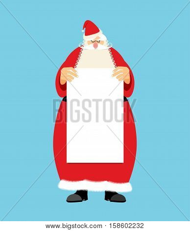 Santa Claus And Blank Sheet Template Isolated. Granddad In Red Suit And White Beard. Christmas And N