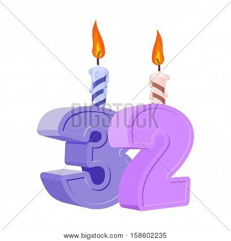 32 Years Birthday. Number With Festive Candle For Holiday Cake. Thirty Two Anniversary