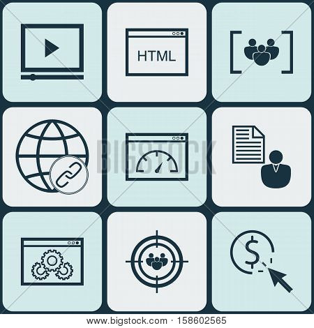 Set Of SEO Icons On Questionnaire, Video Player And Connectivity Topics. Editable Vector Illustration. Includes Audience, Brief, Focus And More Vector Icons.