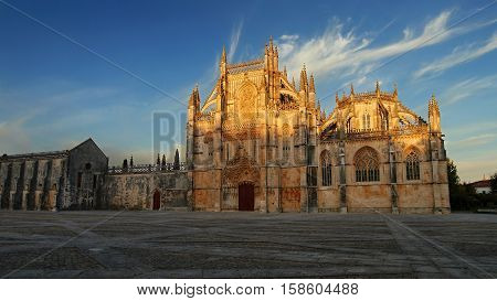 Monastery of Batalha in the evening light. Is one of the most important Gothic sites in Portugal. District of Leiria, Portugal. October 6, 2016
