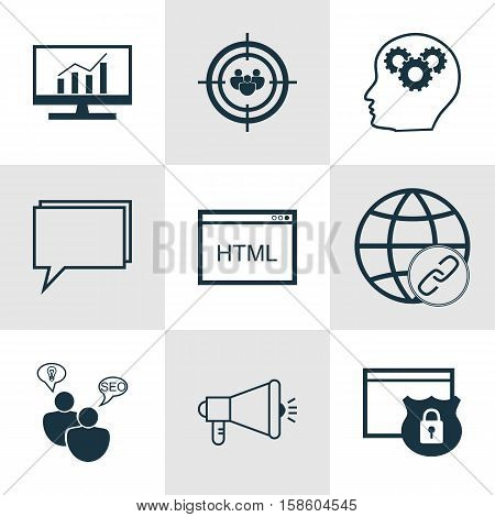 Set Of Advertising Icons On SEO Brainstorm, Focus Group And Market Research Topics. Editable Vector Illustration. Includes HTML, Comprehensive, Code And More Vector Icons.