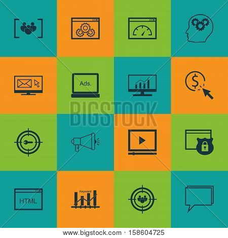 Set Of Advertising Icons On Video Player, Digital Media And Brain Process Topics. Editable Vector Illustration. Includes Target, Ranking, Community And More Vector Icons.