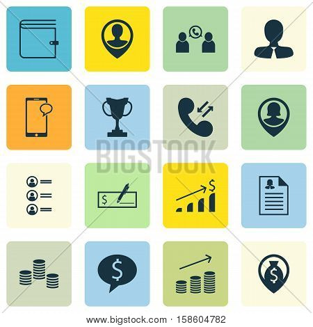 Set Of Management Icons On Wallet, Job Applicants And Business Deal Topics. Editable Vector Illustration. Includes Profile, Opinion, Cash And More Vector Icons.