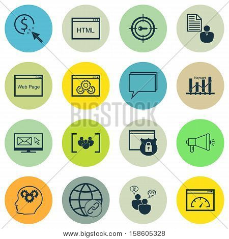 Set Of Advertising Icons On Connectivity, Keyword Optimisation And Keyword Marketing Topics. Editable Vector Illustration. Includes Performance, Businessman, Creativity And More Vector Icons.