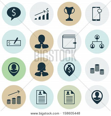 Set Of Management Icons On Tree Structure, Female Application And Business Deal Topics. Editable Vector Illustration. Includes Opinion, Male, User And More Vector Icons.