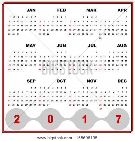 Business frame vector template of 2017 calendar stock vector