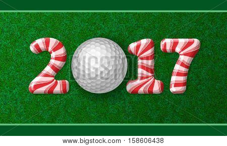 Golf Ball With Candy Cane Numbers Of 2017
