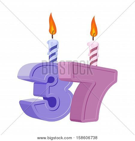37 Years Birthday. Number With Festive Candle For Holiday Cake. Thirty Seven Anniversary