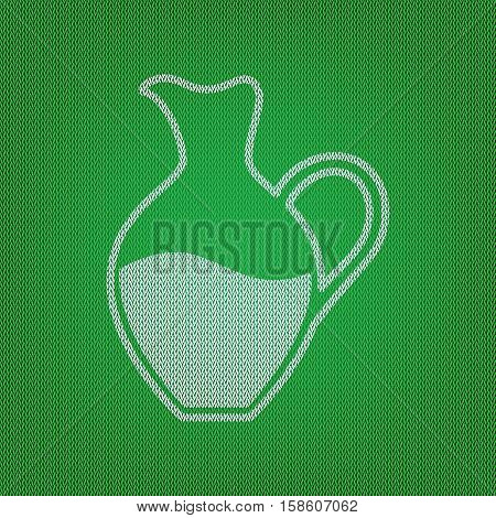 Amphora Sign. White Icon On The Green Knitwear Or Woolen Cloth T