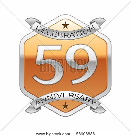 Fifty nine years anniversary celebration silver logo with silver ribbon and golden hexagonal ornament on white background.