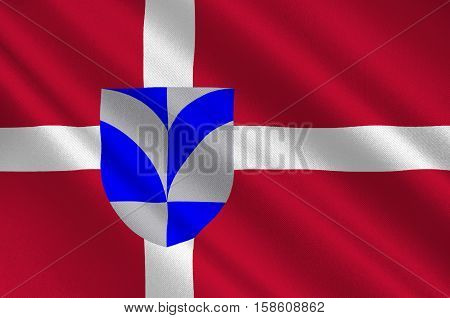 Flag of Billund in Southern Denmark Region. 3d illustration